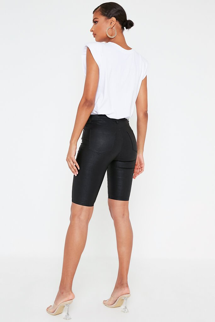 Black Coated Denim Cycling Shorts view 4