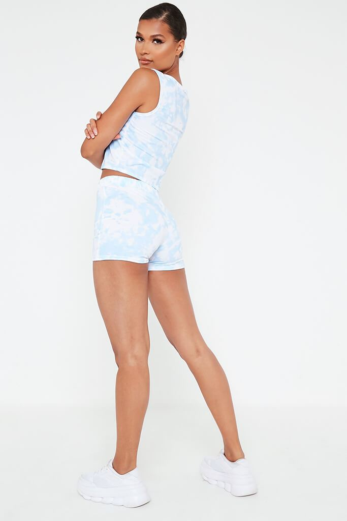 Baby Blue Tie Dye Tank Top And Short Set view 5