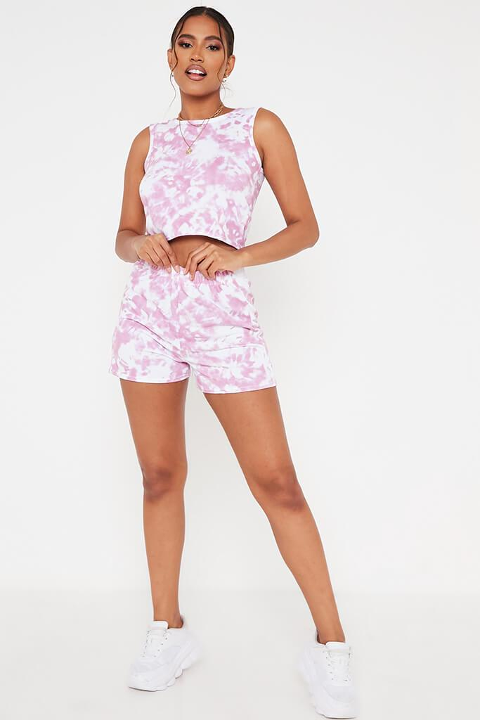 Dusky Pink Tie Dye Tank Top And Short Set view 2