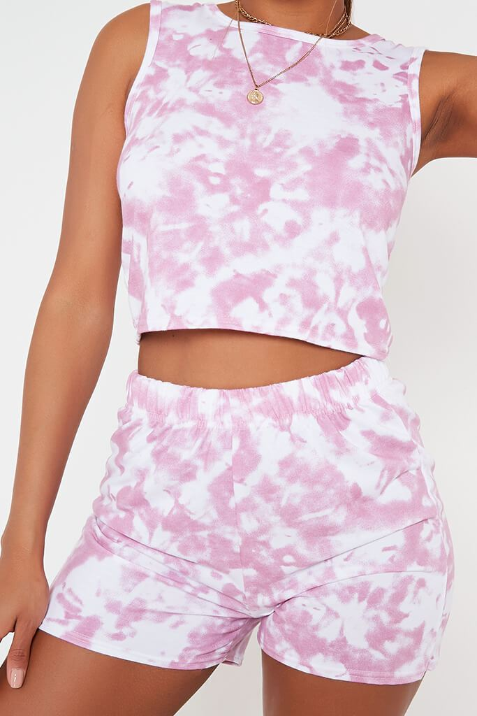 Dusky Pink Tie Dye Tank Top And Short Set view 4