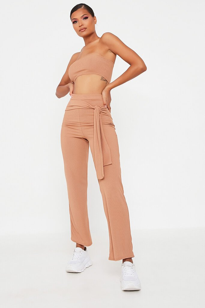 Camel Bandeau Top And Tie Front Trousers Set