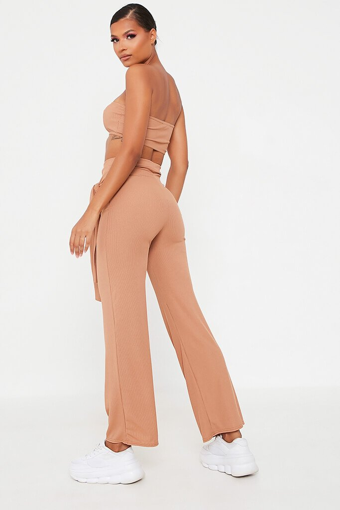 Camel Bandeau Top And Tie Front Trousers Set view 5