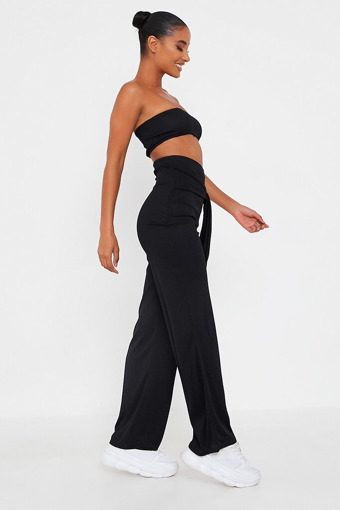 Black Bandeau Top And Tie Front Trousers Set view 3