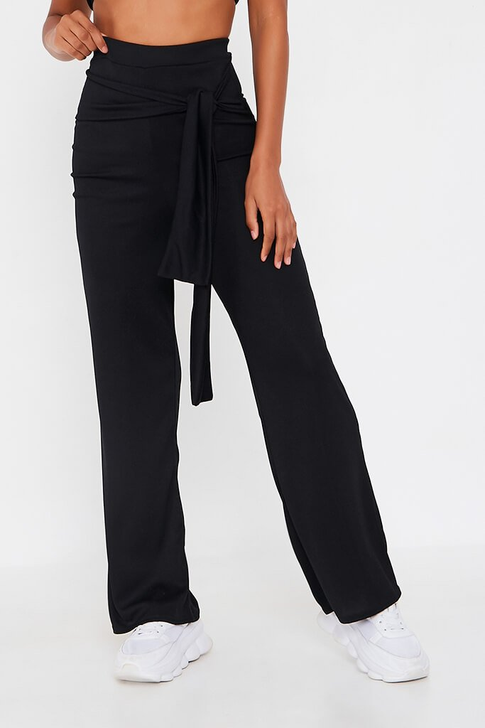 Black Bandeau Top And Tie Front Trousers Set view 4