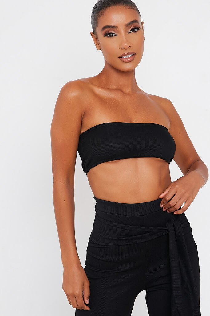 Black Bandeau Top And Tie Front Trousers Set view 2