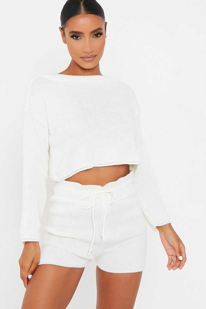 White Knitted Slash Top And Short Set
