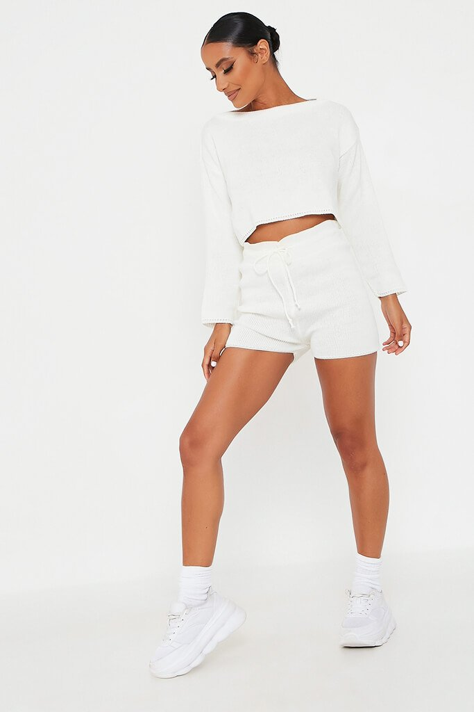 White Knitted Slash Top And Short Set view 2