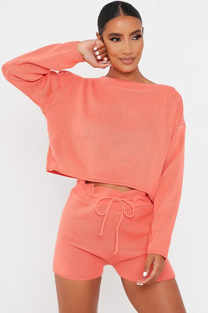 Coral Knitted Slash Top And Short Set
