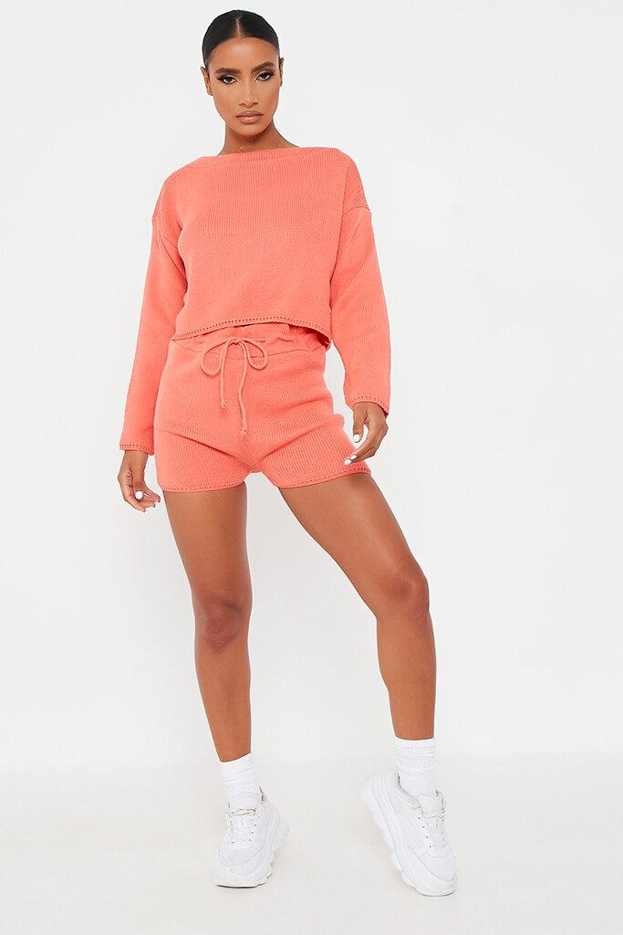 Coral Knitted Slash Top And Short Set view 2