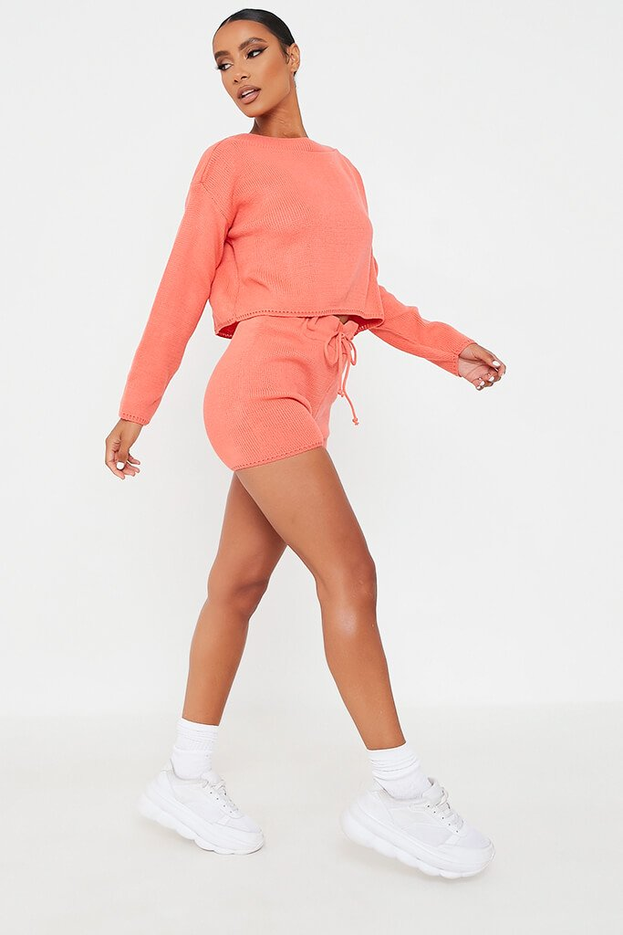 Coral Knitted Slash Top And Short Set view 3