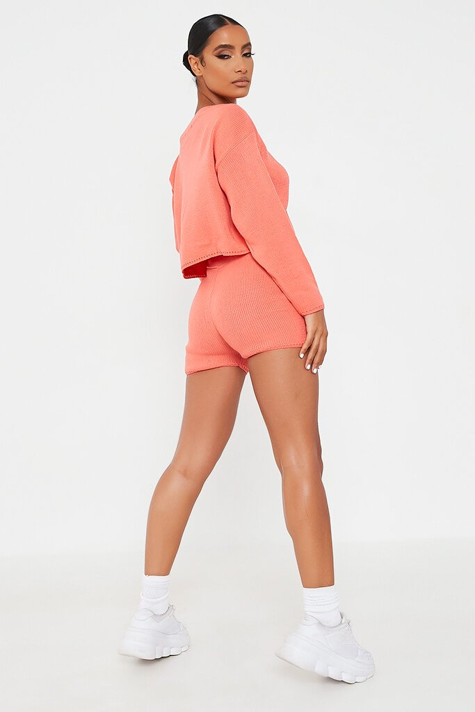 Coral Knitted Slash Top And Short Set view 5
