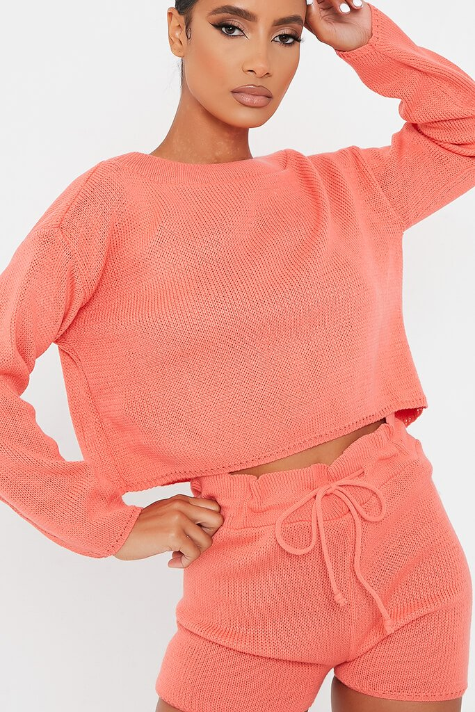 Coral Knitted Slash Top And Short Set view 4