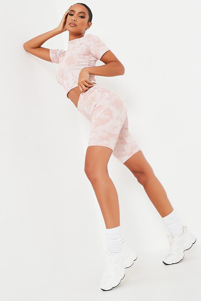 Blush Pink Tie Dye Ribbed Cycling Shorts view 2