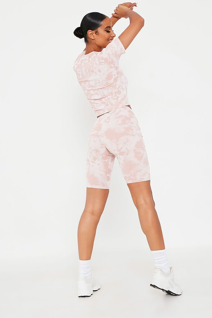 Blush Pink Tie Dye Ribbed Cycling Shorts view 5