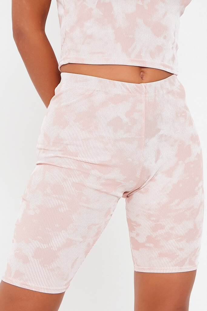 Blush Pink Tie Dye Ribbed Cycling Shorts view 4