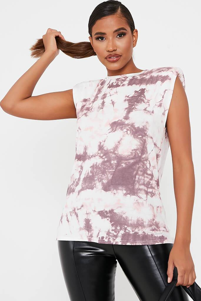 Pink Tie Dye Shoulder Pad Vest Top