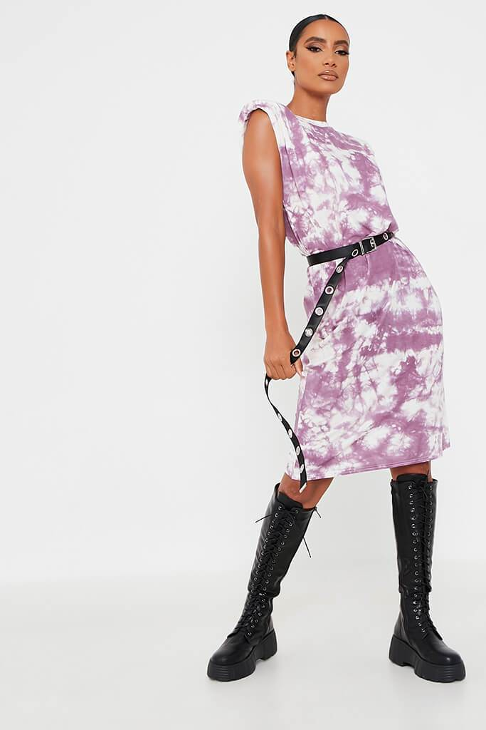 Purple Jersey Tie Dye Sleeveless Shoulder Padded Midi T-Shirt Dress view 2
