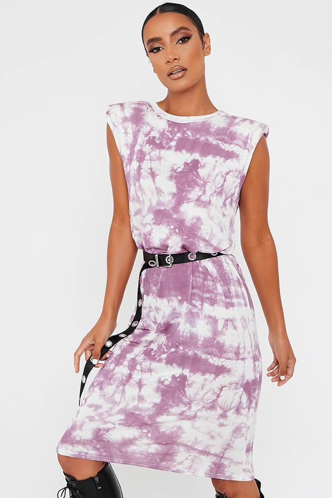 Purple Jersey Tie Dye Sleeveless Shoulder Padded Midi T-Shirt Dress