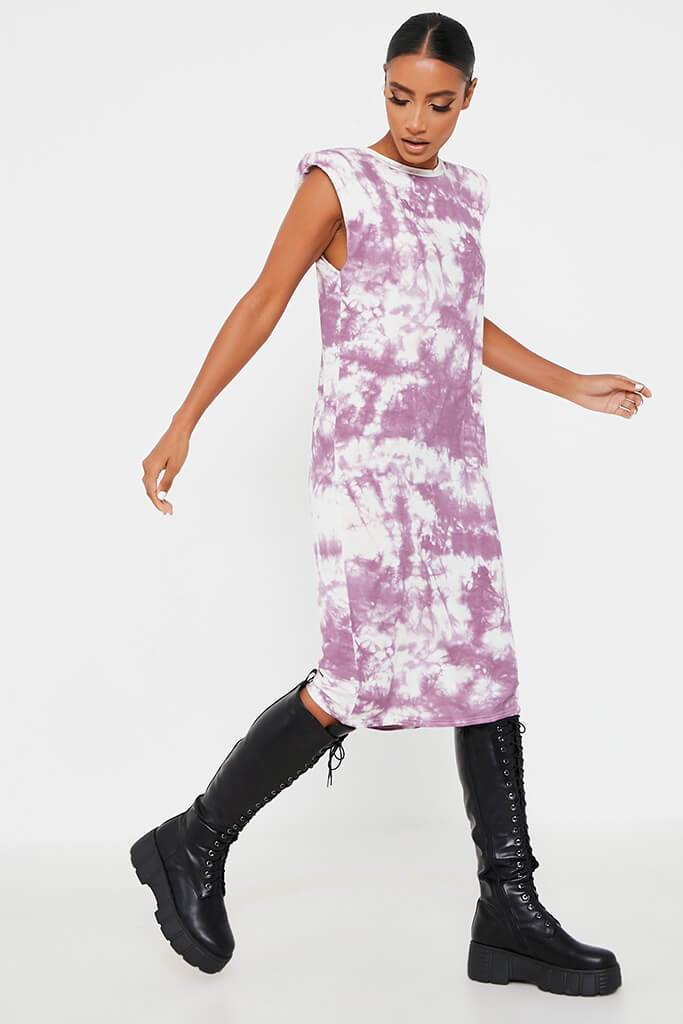 Purple Jersey Tie Dye Sleeveless Shoulder Padded Midi T-Shirt Dress view 3