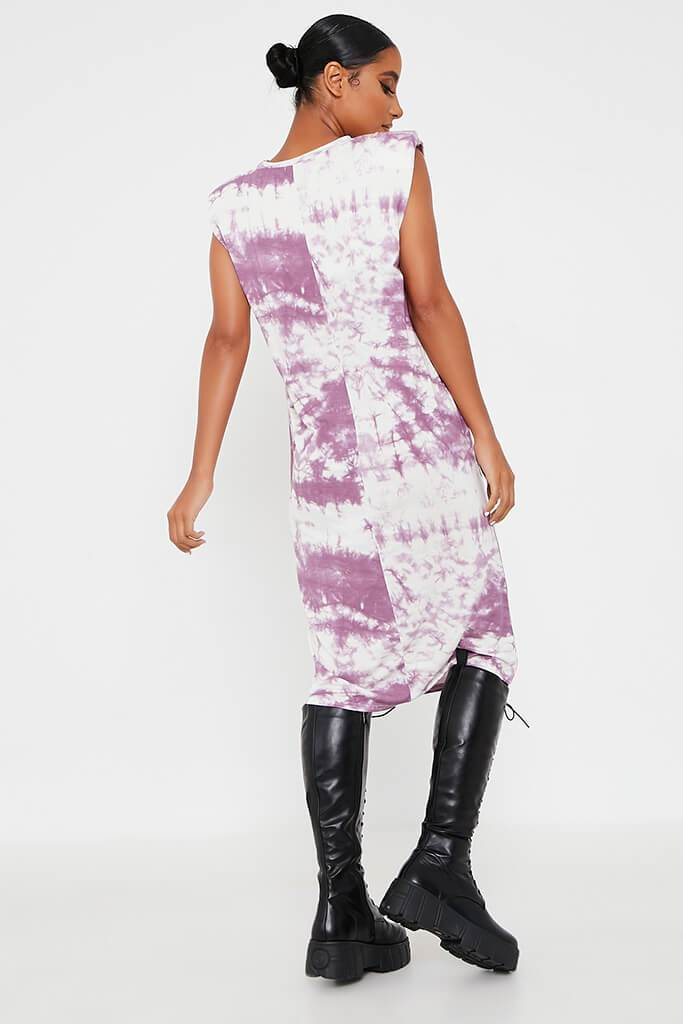 Purple Jersey Tie Dye Sleeveless Shoulder Padded Midi T-Shirt Dress view 5