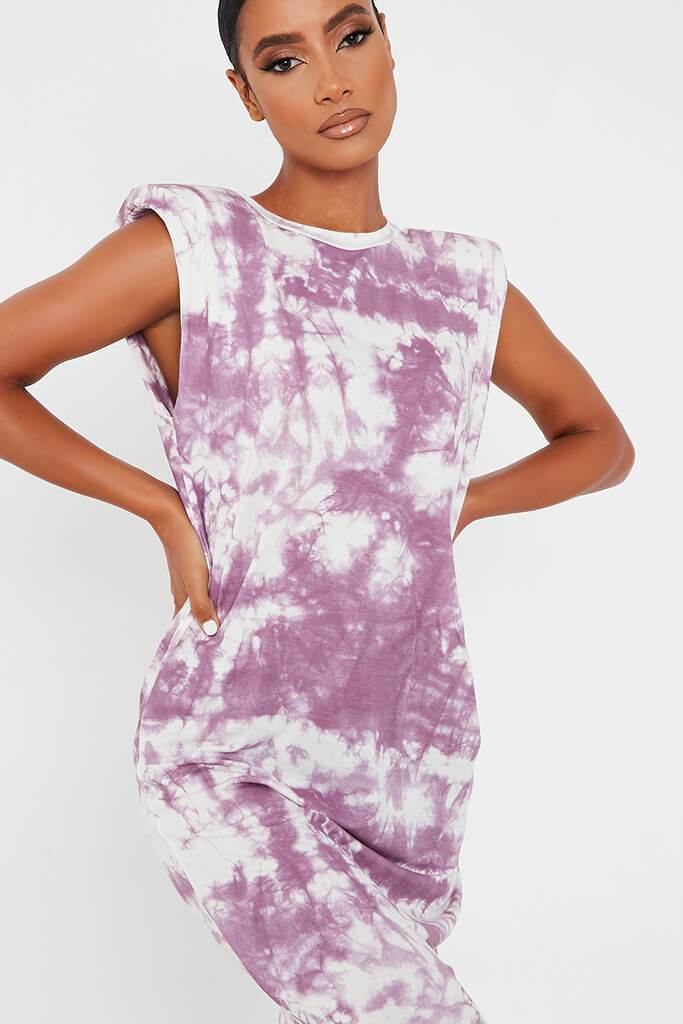 Purple Jersey Tie Dye Sleeveless Shoulder Padded Midi T-Shirt Dress view 4