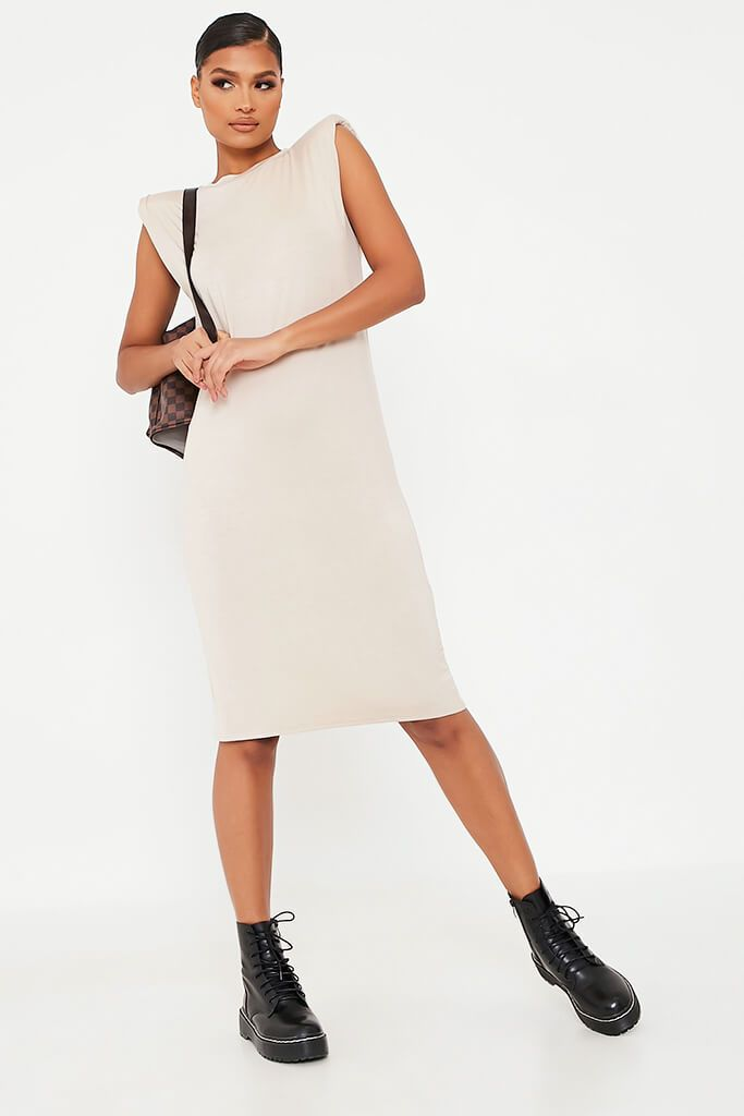 Stone Jersey Sleeveless Shoulder Pad Midi T-Shirt Dress