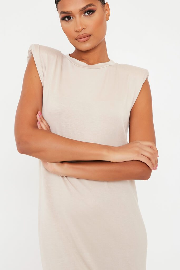 Stone Jersey Sleeveless Shoulder Pad Midi T-Shirt Dress view 4