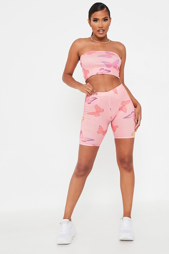 Pink Butterfly Print Jersey Cycling Shorts view 2