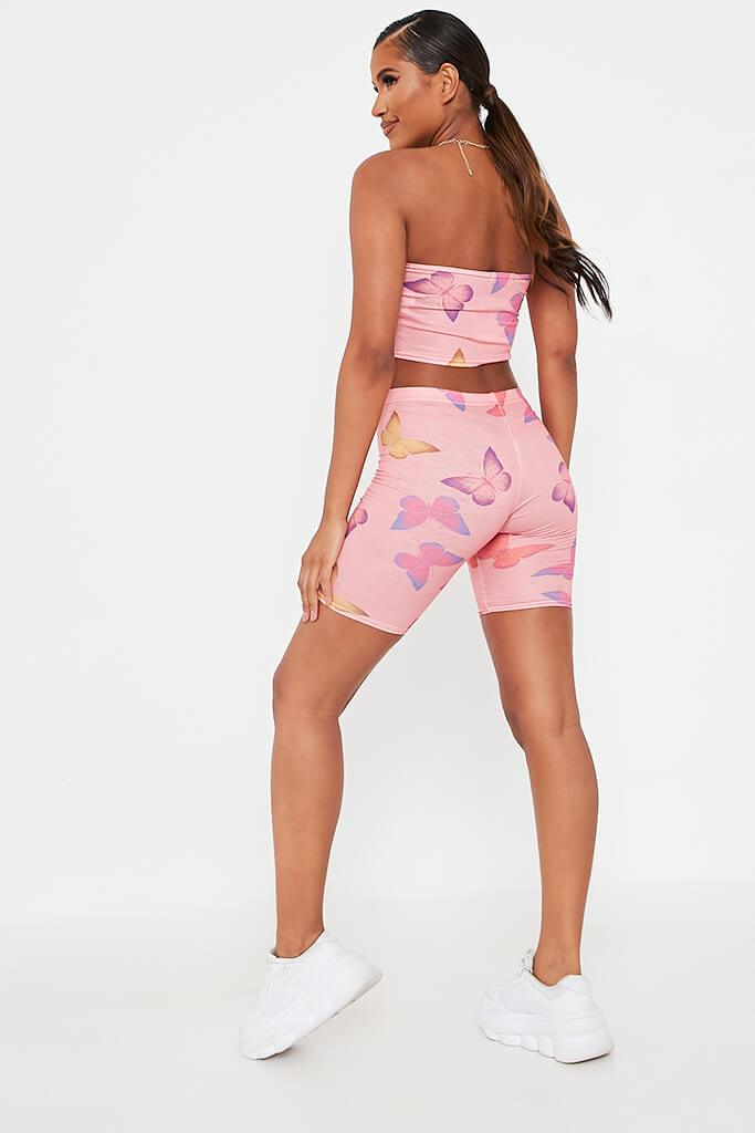 Pink Butterfly Print Jersey Cycling Shorts view 5
