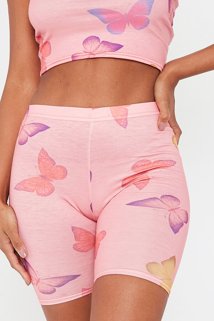 Pink Butterfly Print Jersey Cycling Shorts view 4