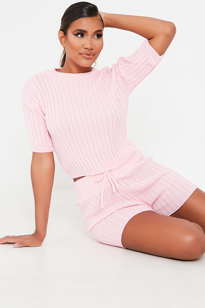 Baby Pink Knitted Top And Shorts Set