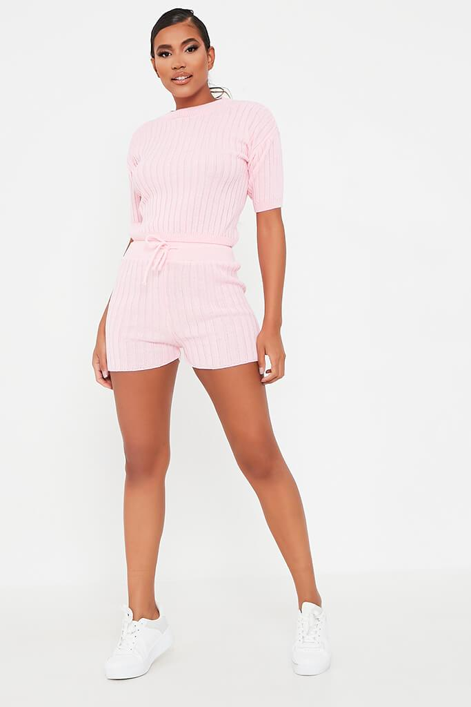 Baby Pink Knitted Top And Shorts Set view 2