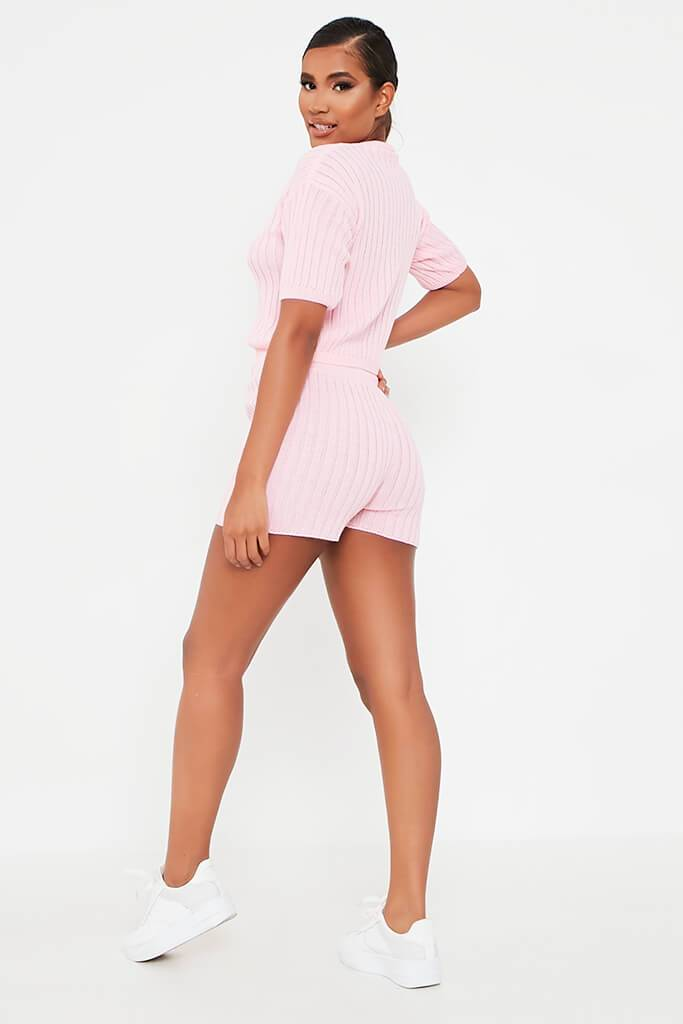 Baby Pink Knitted Top And Shorts Set view 5
