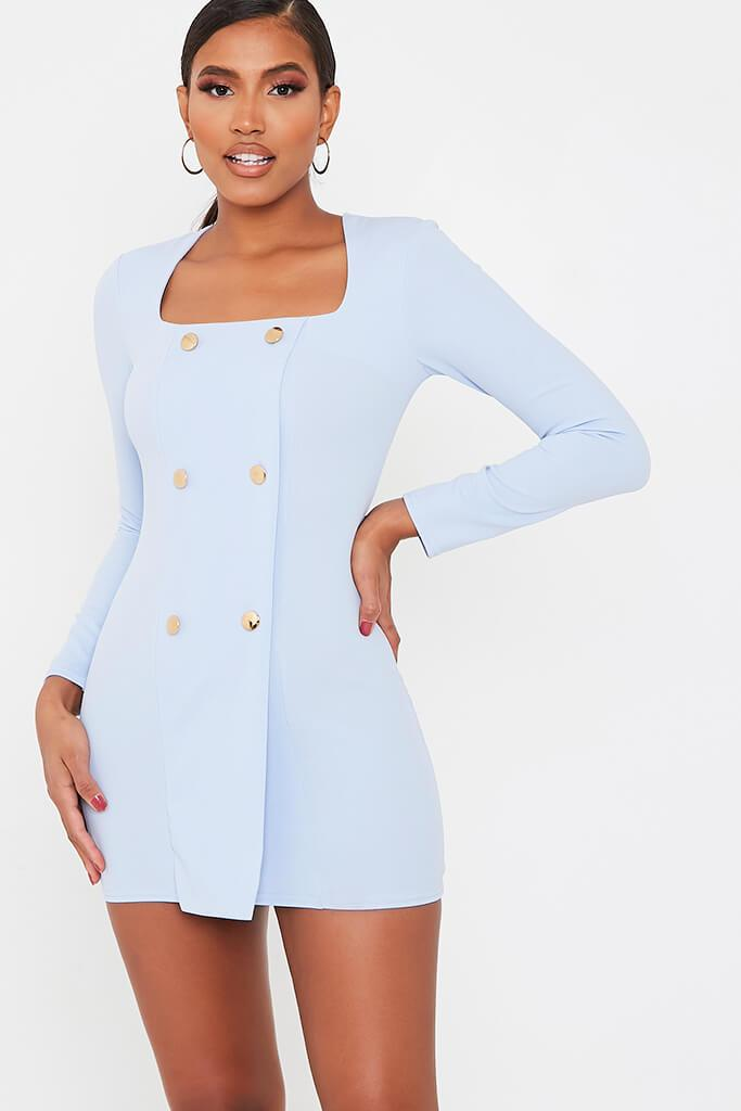 Blue Long Sleeve Square Neck Double Breasted Bodycon Dress