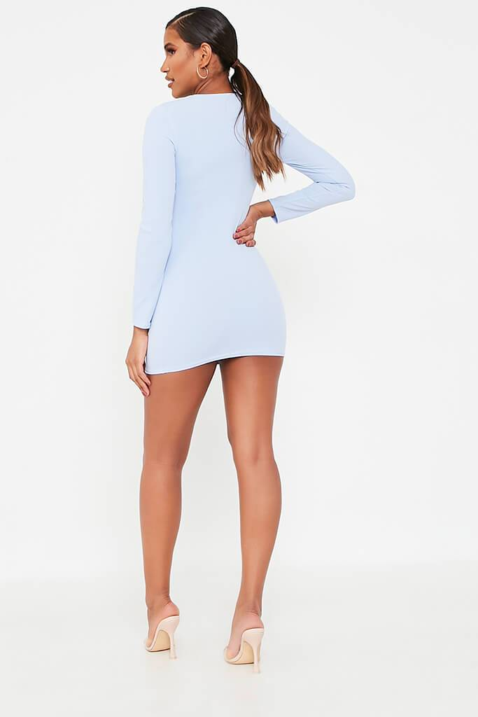 Blue Long Sleeve Square Neck Double Breasted Bodycon Dress view 5