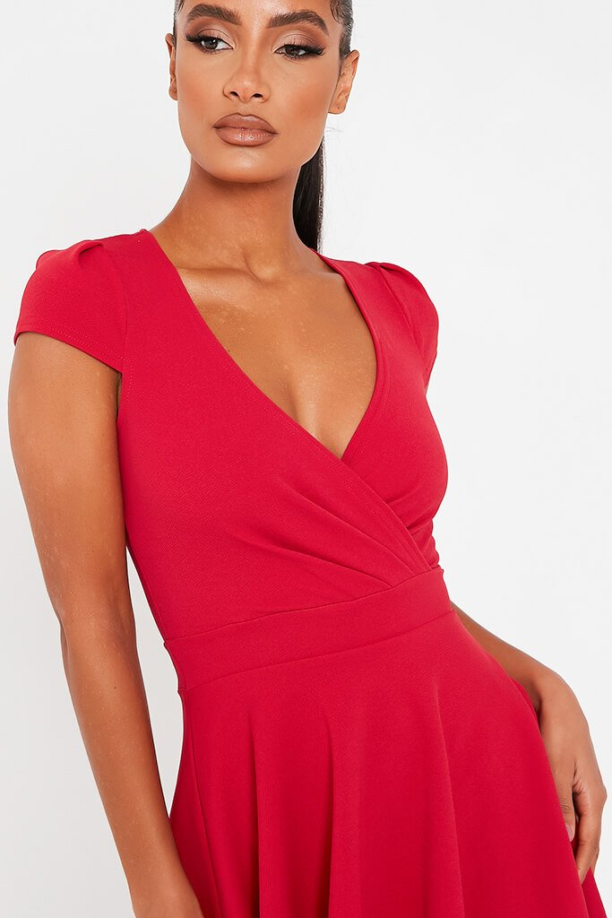 Red Stretch Crepe Cap Sleeve Wrap Skater Dress view 4