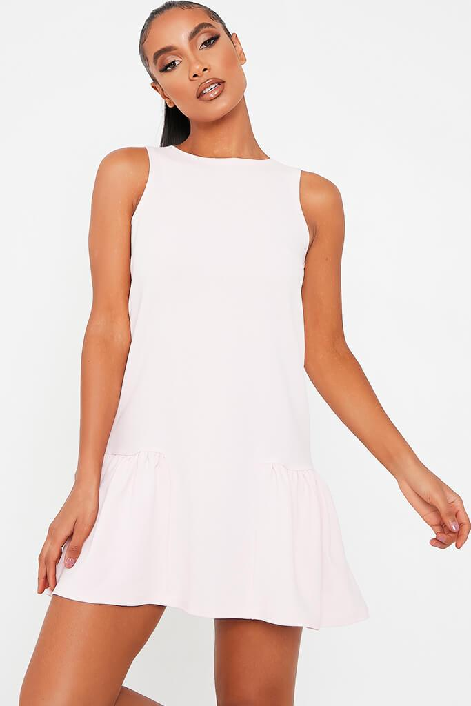 Baby Pink Stretch Crepe Sleeveless Frill Hem Smock Dress