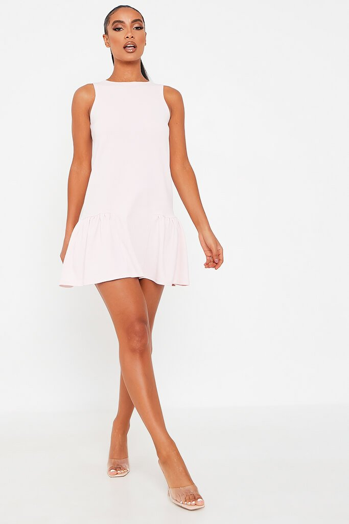 Baby Pink Stretch Crepe Sleeveless Frill Hem Smock Dress view 2
