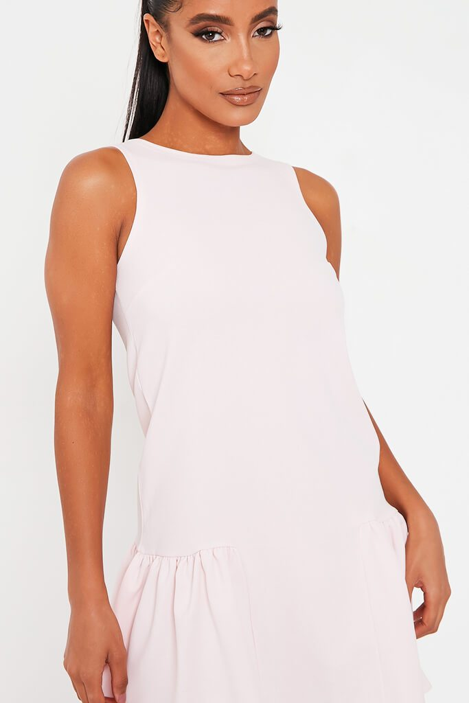 Baby Pink Stretch Crepe Sleeveless Frill Hem Smock Dress view 4