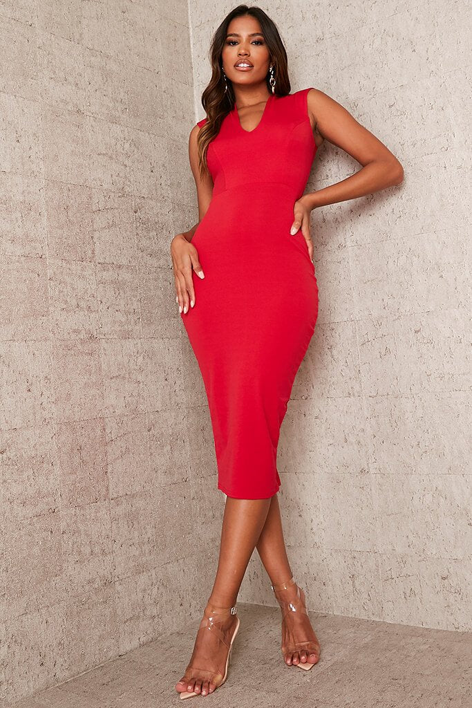 Red Stretch Crepe Plunge Sleeveless Midaxi Dress