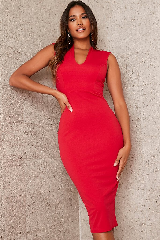 Red Stretch Crepe Plunge Sleeveless Midaxi Dress view 2