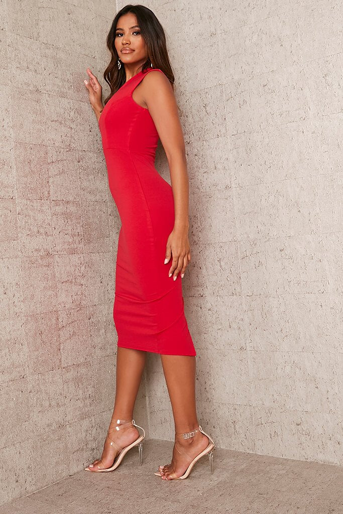 Red Stretch Crepe Plunge Sleeveless Midaxi Dress view 3