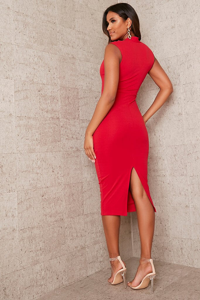 Red Stretch Crepe Plunge Sleeveless Midaxi Dress view 4