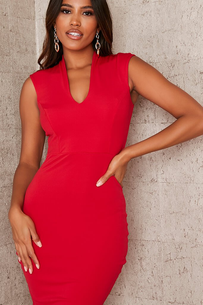 Red Stretch Crepe Plunge Sleeveless Midaxi Dress view 5