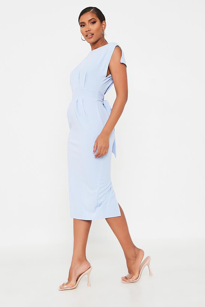 Baby Blue Stretch Crepe Pleat Detail Belted Midaxi Dress view 3