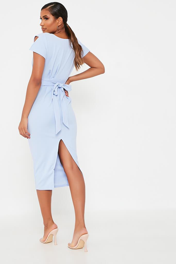 Baby Blue Stretch Crepe Pleat Detail Belted Midaxi Dress view 5