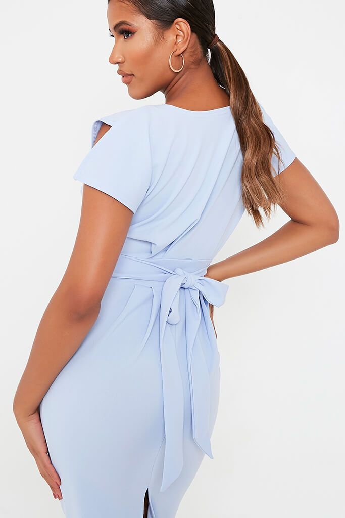 Baby Blue Stretch Crepe Pleat Detail Belted Midaxi Dress view 4