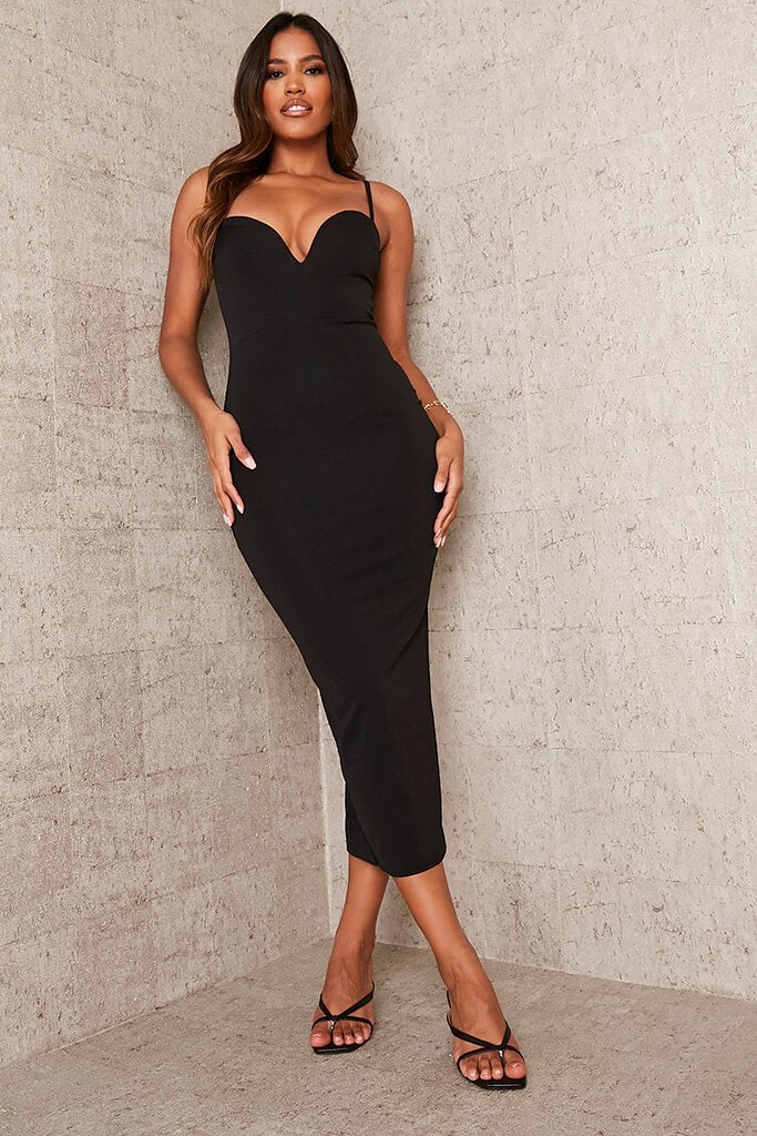 Black Stretch Crepe Deep Plunge Cami Midaxi Dress
