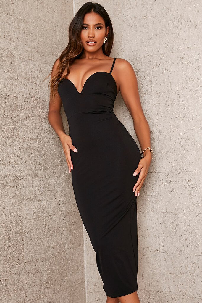 Black Stretch Crepe Deep Plunge Cami Midaxi Dress view 2