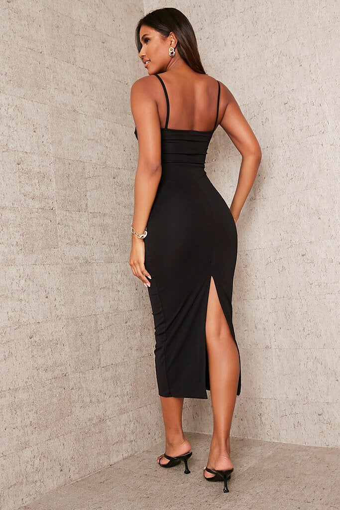 Black Stretch Crepe Deep Plunge Cami Midaxi Dress view 4